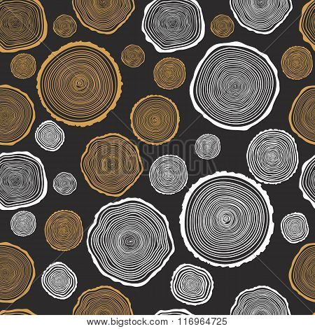 Tree Rings Seamless Vector Pattern
