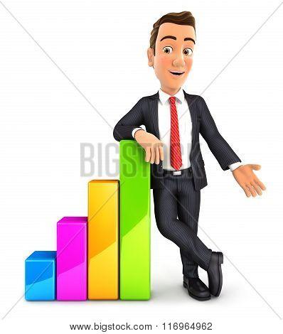 3d businessman leaning against bar chart