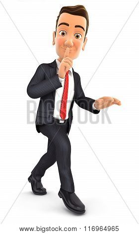 3d businessman walking on tiptoe