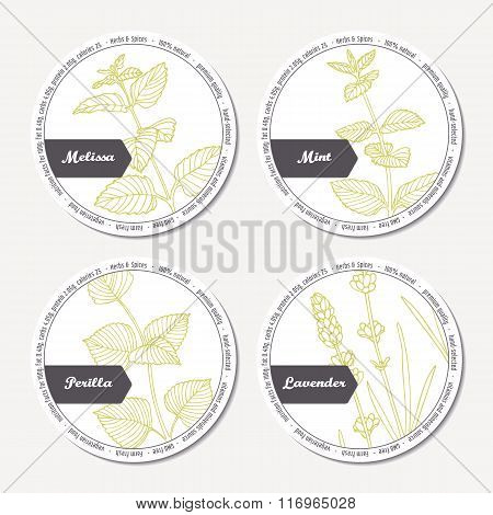 Set of stickers for package design withmelissa, mint, lavender, perilla