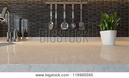 Black Ceramic Modern Kitchen Design Background With Kitchen Marble Desk Space For Your Design