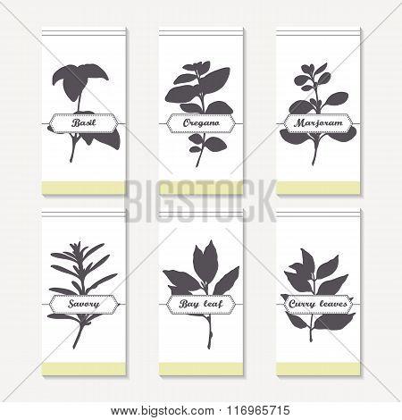 Spicy herbs silhouettes collection. Hand drawn basil, oregano, thyme, majorana, savory, bay leaf, cu