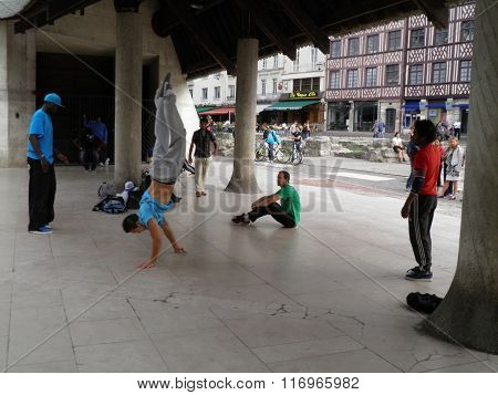 ROUEN FRANCE - CIRCA AUGUST 2011: unidentified rap dancers performing in a public square