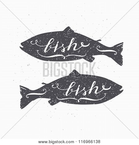 Hand drawn salmon fish hipster silhouette. Handwritten text. Seafood shop template