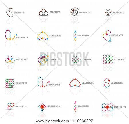Outline swirl and circle minimal abstract geometric logo set
