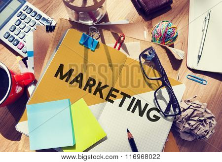 Stationary Office Desk Messy Brand Marketing Concept