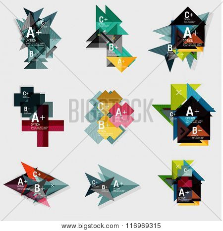 Set of paper design style geometrical banners with sample text, infographic elements