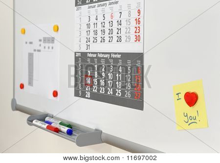 Love note on office whiteboard