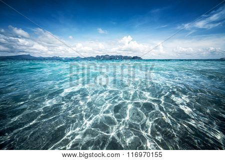 Tropical sea with clear water at sunny day