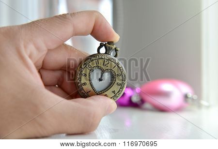 Old Heart Pocket Watch As Vintage Of Love