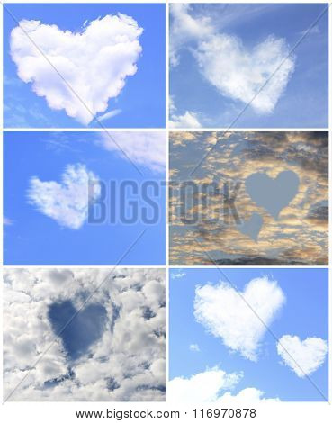 Collage of clouds in heart shaped