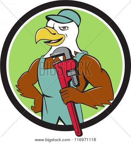 Bald Eagle Plumber Monkey Wrench Circle Cartoon