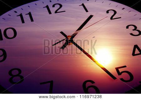 Clock face in bright sky