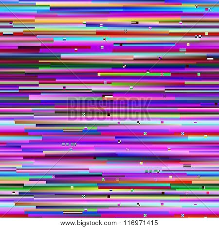 Glitch background, digital image data distortion, colorful pattern, vector illustration.