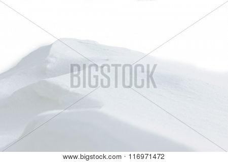 Beautiful natural snowdrift  with white background