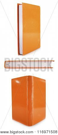 Orange books isolated on white in collage