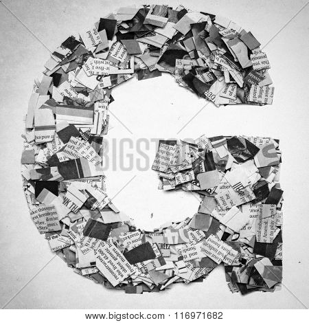 Monochrome letters made out of Newspaper