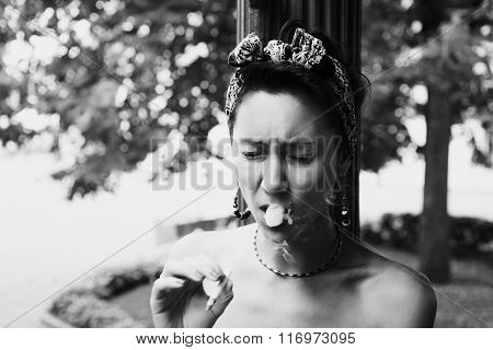 Smoking Woman Coughing Tobacco Smoke