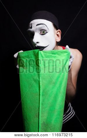 Mime With Green Bag