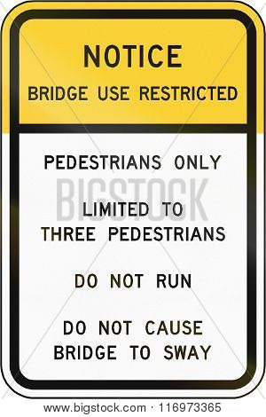 Road Sign Used In The Us State Of Virginia - Bridge Use Restricted
