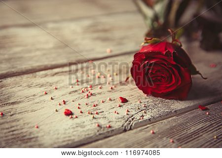 Beautiful rose with small hearts and beads on wooden background