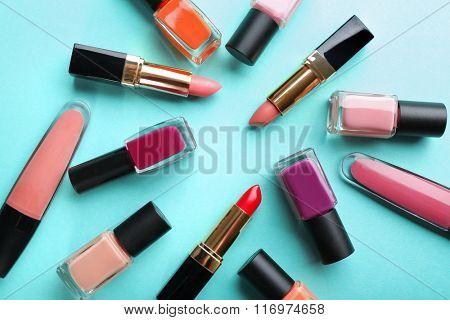 Cosmetics set on turquoise background