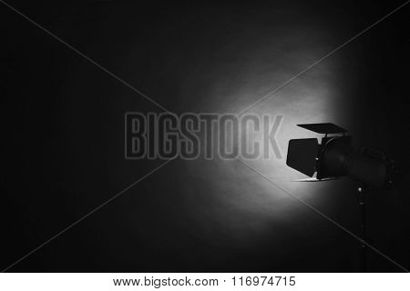 Lighting equipment in empty photo studio
