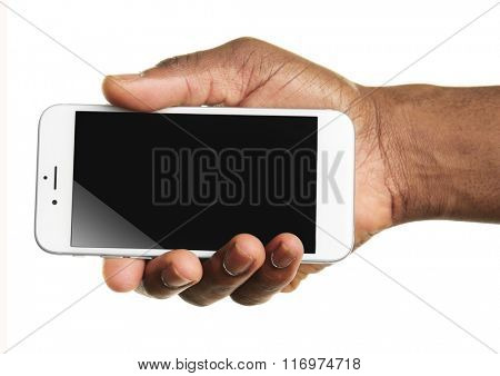 Hand holding mobile smart phone with blank screen, isolated on white
