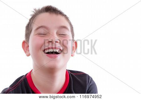 Boy In Red And Black T-shirt Laughing Joyfully
