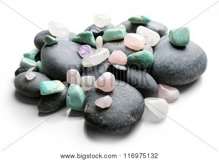 Semiprecious stones isolated on white