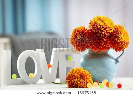 Flowers and home decor on a table