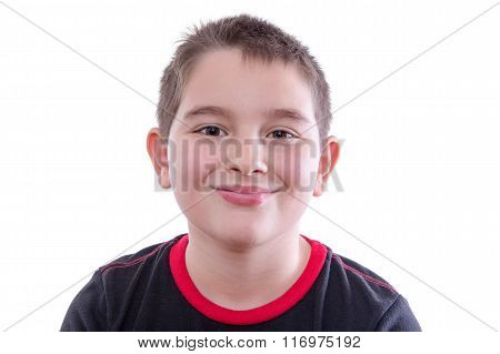 Boy In Red And Black T-shirt Smiling At Camera