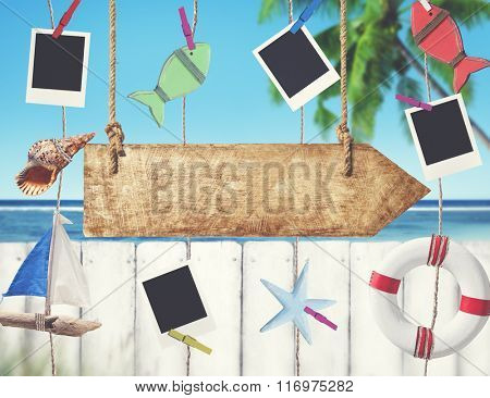 Buoy Sailboat Coconut Tree Fish Shell Sign Picture Concept