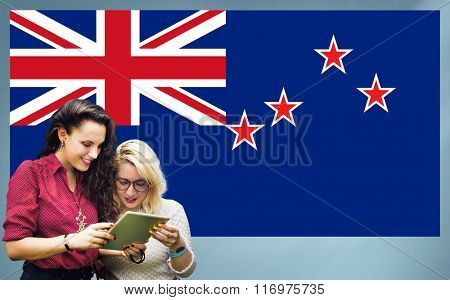 New Zealand National Flag Studying Women Students Concept