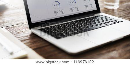 Laptop Graph Growth Success Finance Economy Concept