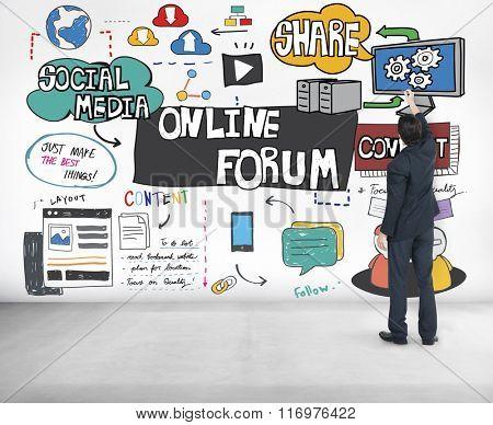 Online Forum DIscussion Communication Connection Concept