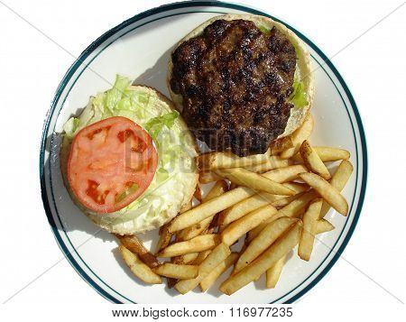 Hamburger plate on white