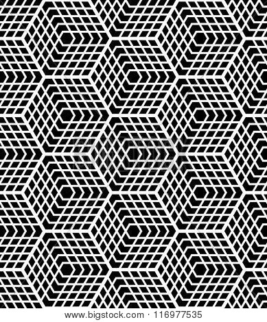 Seamless op art geometric pattern. Latticed structure. Vector art.