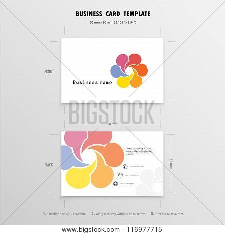 Abstract Creative Business Cards Design Template. Name Cards Symbol. Size 55 Mm X 90 Mm