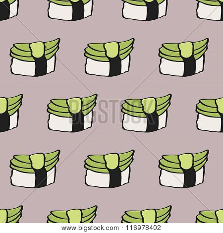 Seamless pattern with hand-drawn cartoon japanese food icon - sushi with avocado. Doodle drawing. Ve