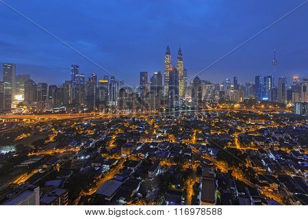 View Of Kuala Lumpur City Center During Blue Hour On The New Year Morning 2016