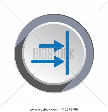 Arrow to right icon. Move, direction cursor sign.  Guide, time limit symbol. Two pointers blue silho