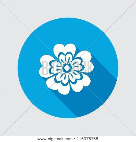 Primula flower icons. Spring flowers. Floral symbol. Round circle flat icon with long shadow. May be