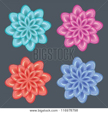 Flower icon set. Dahlia, aster, daisy, chamomile, chrysanthemum, gowan button. Ice, glass, frozen un