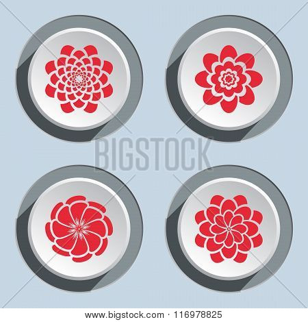 Flower icon set. Dahlia, aster, daisy, chamomile, chrysanthemum, gowan. Floral summer, autumn symbol