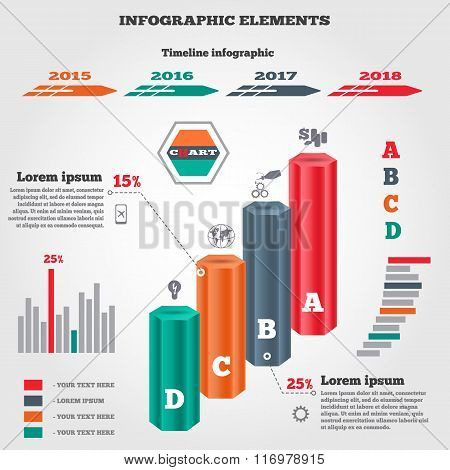 Infographics elements set. Prismatic columns, three-dimensional chart of data, timeline diagram with