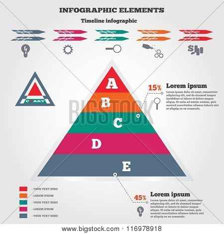 Infographics elements. Pyramid chart, timeline diagram with icons. Modern colored flat banner.  Five