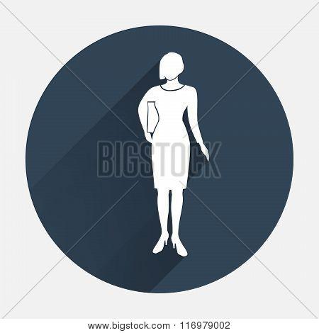 Office worker icon. Person symbol. Standing elegant women, document in hand. Round dark gray circle