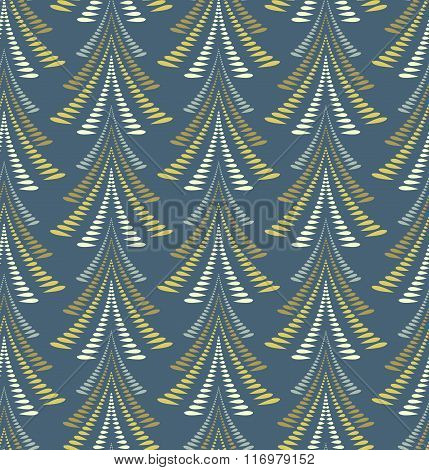 Seamless Christmas pattern. Firs, trees on dark blue background. Twist stylized ornament of laurel l