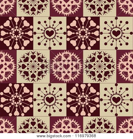 Christmas seamless pattern of heart snowflakes. New Year, Valentine day, birthday texture. Brown, vi